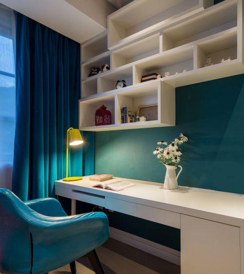 现代简约三居室儿童房书柜装修效果图大全
