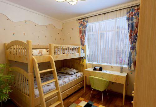 家装现代风格儿童房原木色上下床装修案例