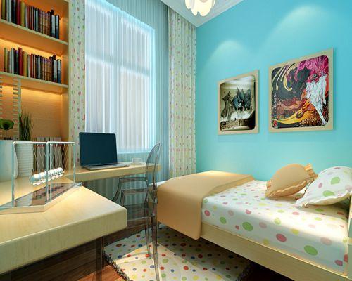 现代简约三居室儿童房窗帘装修图片