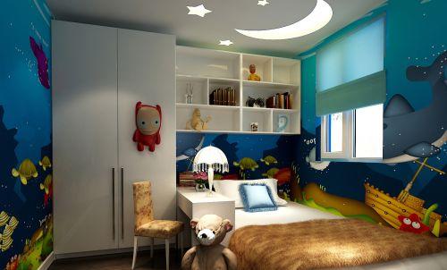 现代简约三居室儿童房书柜装修效果图欣赏