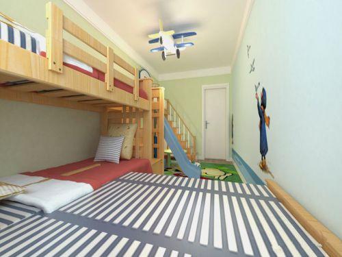 现代简约二居室儿童房壁纸装修效果图大全