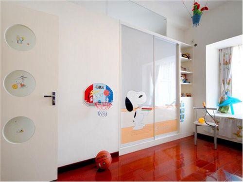 现代简约三居室儿童房婴儿床装修效果图