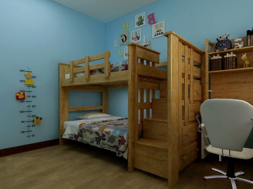 现代简约二居室儿童房书架装修图片