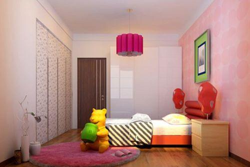 现代简约二居室儿童房背景墙装修效果图