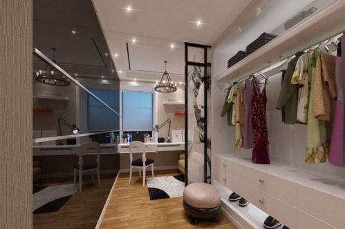 现代简约三居室衣帽间衣柜装修效果图欣赏