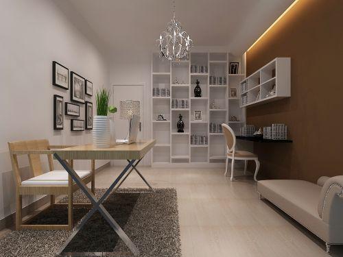 现代简约三居室书房梳妆台灯具装修效果图