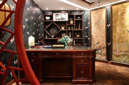 现代中式风格书房设计实景图