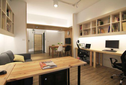 现代简约风格原木色书房装修设计