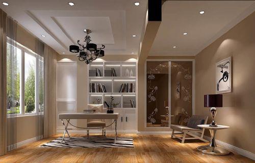 现代简约三居室书房照片墙装修图片