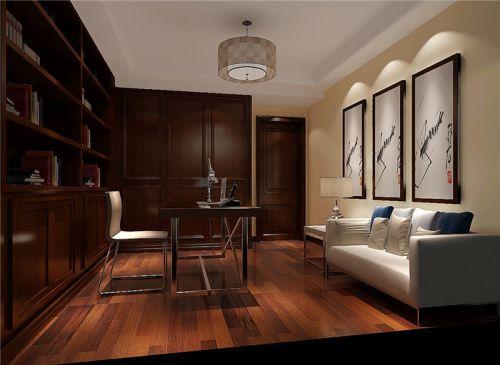 现代简约三居室书房照片墙装修效果图