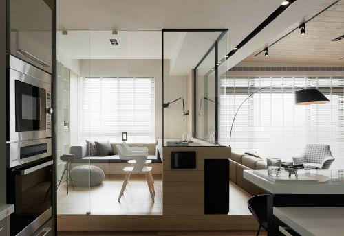 现代简约家居原木色系书房空间装修实景图