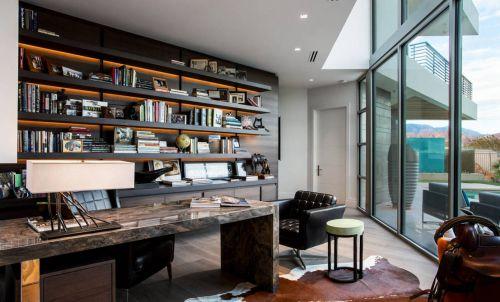 轻奢感现代风格书房装修效果图