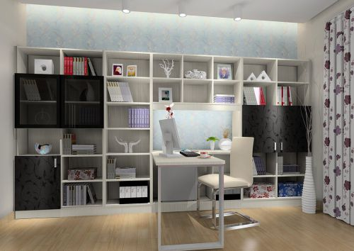 黑白色现代简约书房装修效果图
