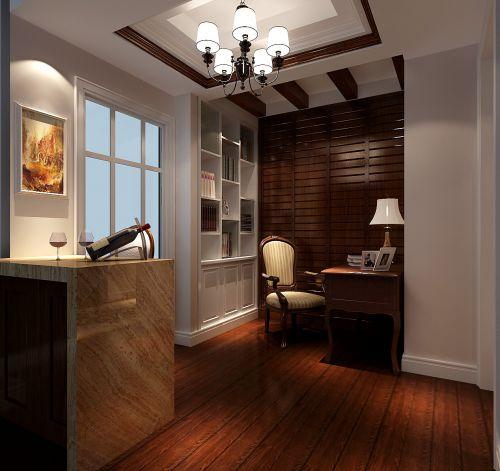 现代简约二居室书房背景墙装修效果图
