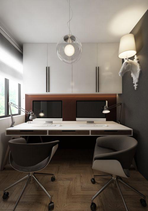 现代简约60平黑色砖混结构书房装修
