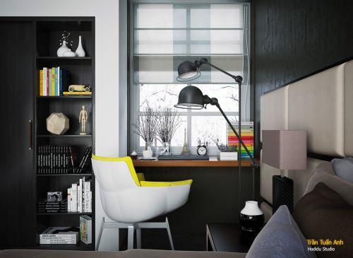 现代风格黑色书房几何书桌椅装修设计