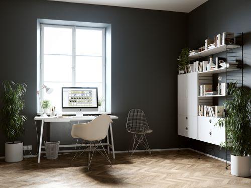 现代小资格调黑色书房装修效果图