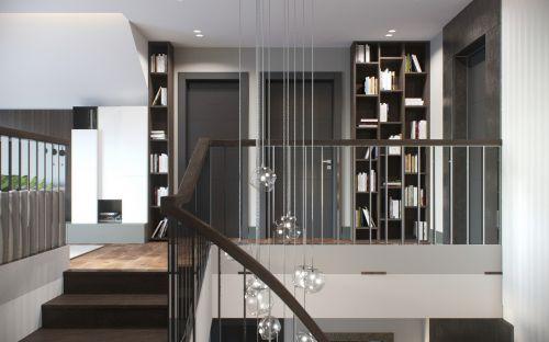 现代风格复式黑色过道书房装修效果图