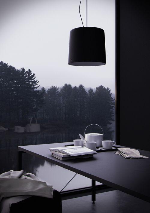现代风格黑色舒清净书房书桌修效果图