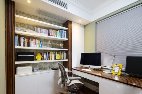 现代风格书房组合柜书桌装修效果图