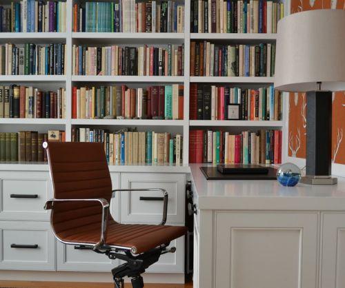 白色极简现代风格书房装修效果图