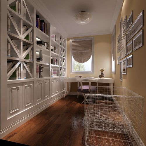 现代简约三居室书房照片墙装修效果图欣赏