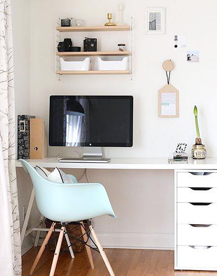 整齐洁净现代风格书房书桌装修实景图