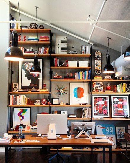 流行时尚现代风格书房装修实景图