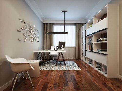 现代简约三居室书房灯具装修图片
