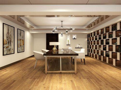 现代简约五居室书房书柜装修效果图
