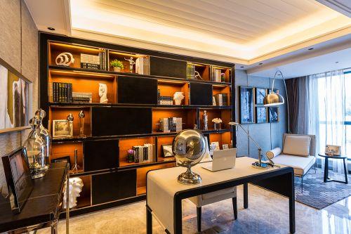 新颖现代简约风格沉稳书房空间装修实景图