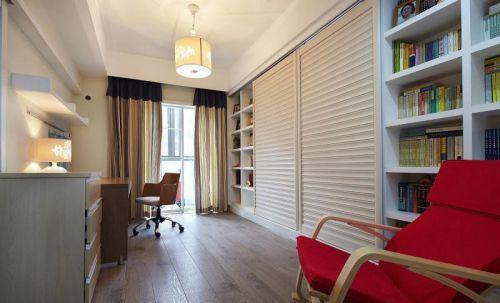 白色现代简约风格书房装修实景图