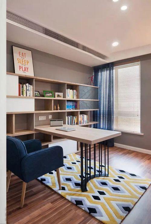 现代简约三居室书房窗帘装修图片