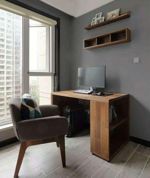现代简约三居室书房窗帘装修效果图大全
