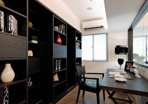 现代简约一居室书房书柜装修效果图