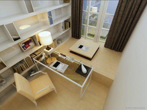 现代简约四居室书房飘窗装修效果图