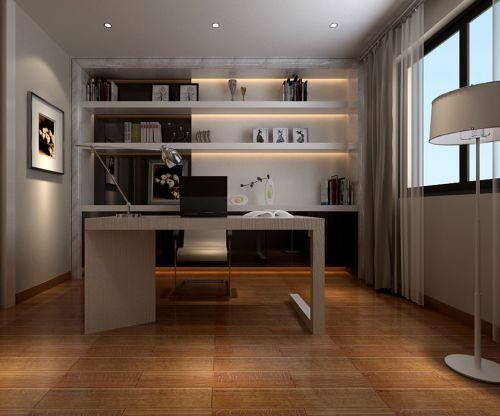 现代简约三居室书房书架装修效果图