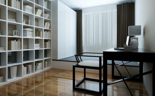 现代简约三居室书房书柜装修效果图欣赏