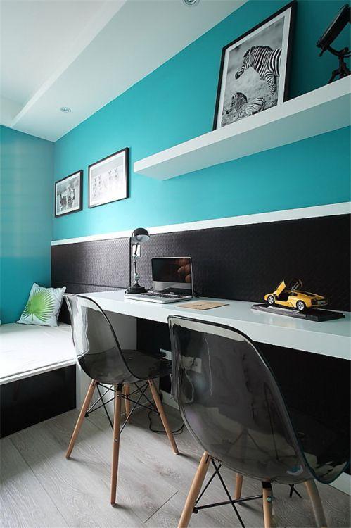 现代简约二居室书房书架装修效果图