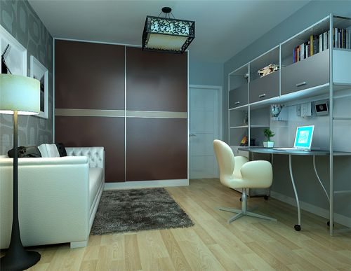 现代简约三居室书房书架装修效果图欣赏