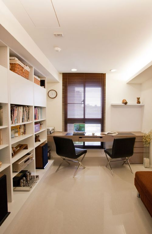 现代简约二居室书房书柜装修效果图