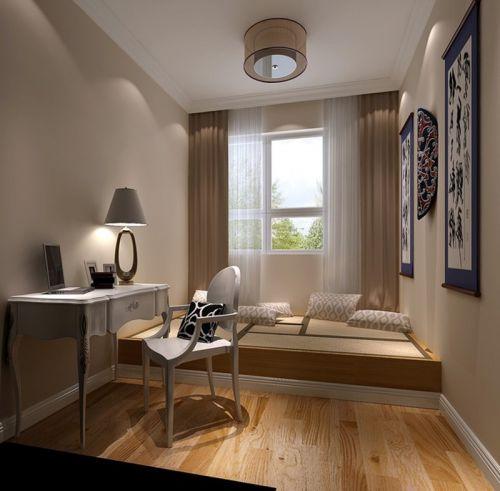 现代简约一居室书房窗帘装修图片