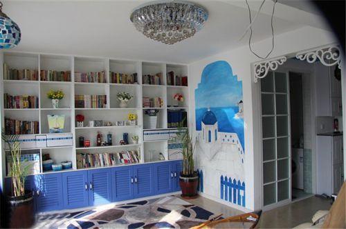现代简约一居室书房背景墙装修效果图欣赏
