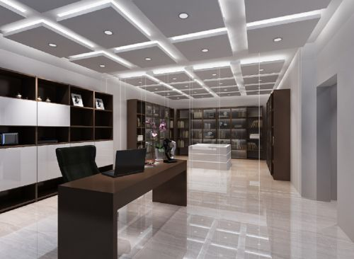 现代简约四居室书房书架装修图片