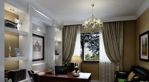 现代简约别墅书房窗帘装修效果图