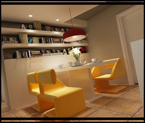 现代简约三居室书房储物柜装修图片