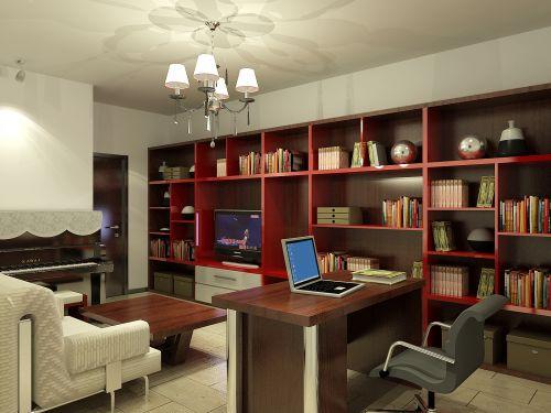 现代简约二居室书房飘窗装修图片