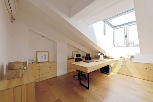 现代简约三居室书房背景墙装修效果图欣赏