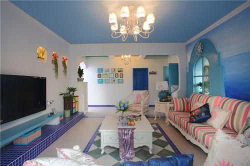 蓝色浪漫地中海风格客厅效果图欣赏