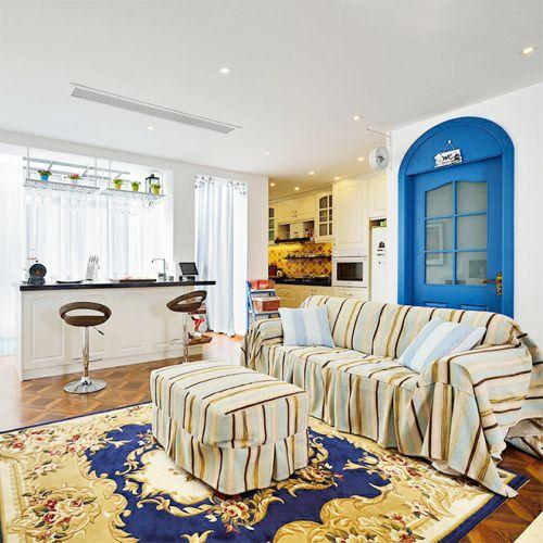 蓝色地中海客厅吧台装修设计